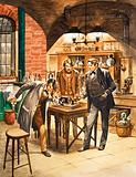 Edison demonstrating the first phonograph in his laboratory