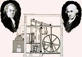 Matthew Boulton and James Watt with one of the patented steam engines