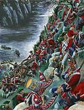 The British soldiers make the arduous ascent of the Heights of Abraham to take Quebec