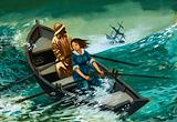 Grace Darling and her father rowing out to rescue sailors shipwrecked off the Farne Islands, Northumberland, 1838