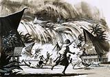 Calamity at Krakatoa. A tidal wave bearing down on a village.