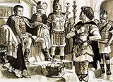 Caractacus confronts Emperor Claudius