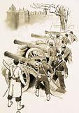 Unidentified soldiers with cannons