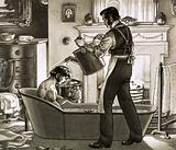 A man being bathed by his valet
