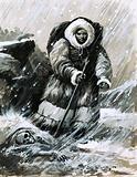 Friar John marches through the blinding snow