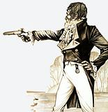 An Edwardian gentleman duelling with a pistol