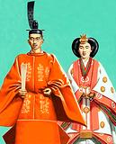 Hirohito and his wife in ceremonial robes at the coronation in 1928