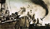 A lightship's guns damage a German bomber enough to cause it to crash