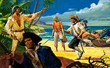 Mutineers from The Bounty land on Pitcairn Island