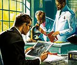 Unidentified scientists, one looking at photographs, one looking through a microscope