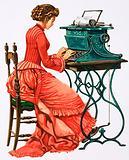 Victorian female secretary at type writer
