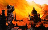 Unidentified fiery blitz scene with ARP Warden in foreground and St Paul's in background