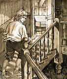 Young Handel creeps up the stairs to the attic to play the piano