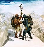Edmund Hillary and Sherpa Tenzing Norgay on the summit of Mount Everest, 1953