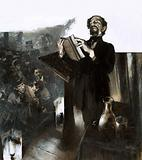 Charles Dickens gives a reading by flickering gaslight on a Victorian stage