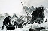 Unidentified ship wreck on an icy glacier
