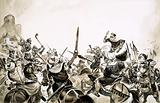 Moorish warriors attacking Spanish forces in 711