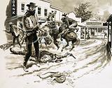 Cole Younger, a member of Jesse James' outlaw gang, in a shoot-out after a bank robbery in the Wild West