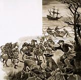 An exciseman of the 17th century leads an attack on smugglers