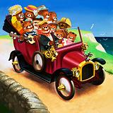 Teddy Bears in a car