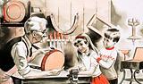 Children with furniture restorer