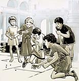 Roman children playing marbles