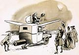 Fictional flights to the Moon included carriages drawn by geese or powered by fireworks