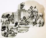 """The """"good physician"""" Imhotep giving advice to a sick man"""