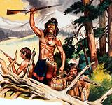American indian with rifle