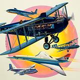 Montage of passenger planes including Concord
