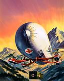 A futuristic combination of helicopters and airships used for carrying large loads