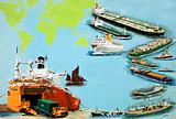 Montage of ships from the Very Large Crude Carrier to far smaller cargo and passenger ships