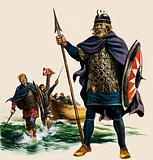 Who was the Saxon king who organised a fleet to meet the threat of Viking raiders on British shores?