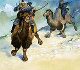 Mongol warriors on camels