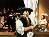 Rembrandt painting his famous portrait of the Civic Guardsmen
