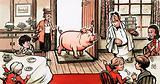 Pig entering a restaurant