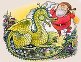 Dragon with plump bearded man