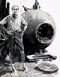 Dr William Beebe with his bathysphere