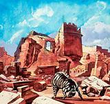 Wild dog among the ruins
