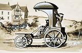 A car invented by a French doctor in 1690, powered by pedals