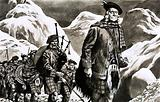 Unidentified Scottish porcession with bagpipes and warriors