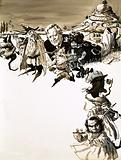 JRR Tolkien and characters from Lord of the Rings