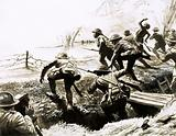 British troops going 'over the top' from a trench during World War I