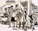 Self-service department stores came into fashion after the Second World War