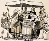 In the Middle Ages, food was bought from stalls set out in the streets