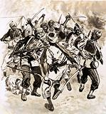A horde of Pathans crept into the camp of the Punjab Infantry and a grim battle ensued