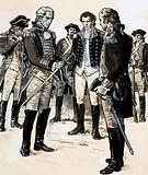 General Burgoyne surrenders his sword to General Gates