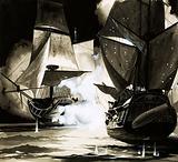 John Paul Jones' ship – a blazing wreck