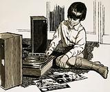Child playing a record player