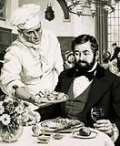 George Crum, inventor of the potato crisp, presents his creation to Cornelius Vanderbilt, 1853
